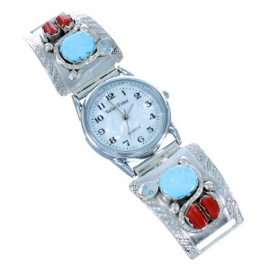Zuni Indian Effie Calavaza Sterling Silver Turquoise And Coral Snake Watch RX109981