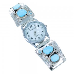Effie Calavaza Sterling Silver Turquoise Zuni Snake Watch RX109983