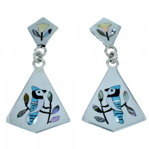 Zuni Blue Jay Sterling Silver Multicolor Inlay Post Dangle Earrings SX109980