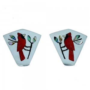 Multicolor Zuni Cardinal Sterling Silver Post Earrings SX109988