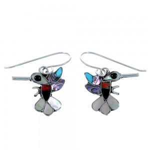 Sterling Silver Zuni Multicolor Hummingbird Hook Dangle Earrings SX109997