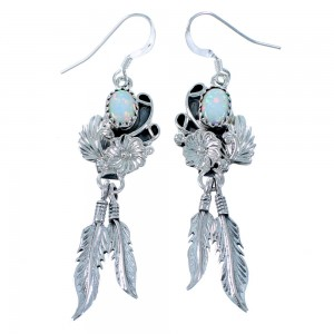 Opal Sterling Silver Navajo Flower And Feather Hook Dangle Earrings SX110034