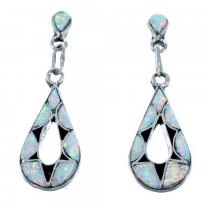 Zuni Sterling Silver Opal Inlay Teardrop Post Dangle Earrings SX110038