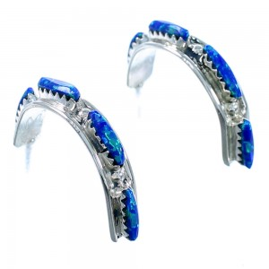 Zuni Authentic Sterling Silver Blue Opal Post Hoop Earrings SX110046