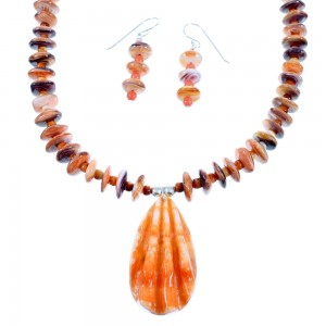 Navajo Oyster Shell Pink Coral Sterling Silver Necklace And Earrings Set SX110029