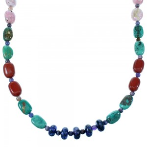 Sterling Silver Navajo Multicolor Bead Necklace SX110089