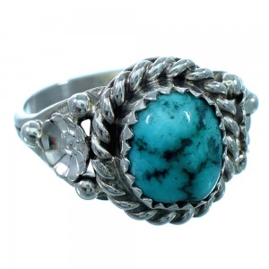 Navajo Indian Turquoise Sterling Silver Flower Ring Size 7-1/2 SX110213