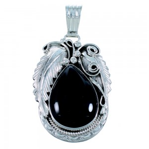 Onyx Sterling Silver Navajo Pendant RX110304