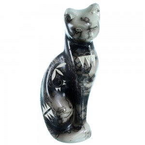 Native American Horse Hair Cat Pottery By Tom Vail Jr. RX110372