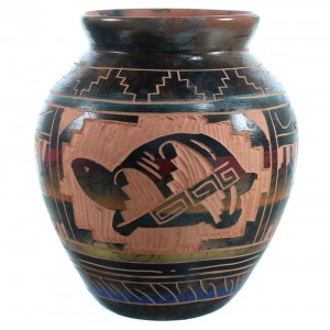 American Indian Turtle Water Wave Hand Crafted Pot By Carol Johnson SX110406