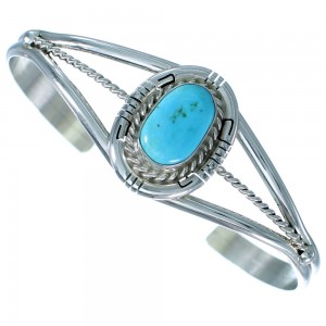 Turquoise Sterling Silver Water Wave Navajo Cuff Bracelet SX110476