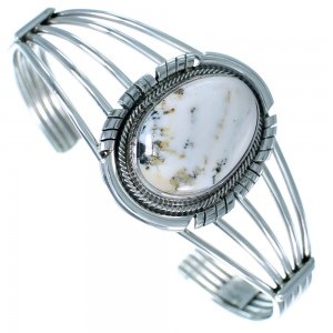 Navajo Sterling Silver White Buffalo Turquoise Cuff Bracelet SX110504
