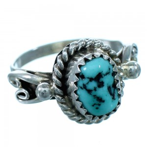 Turquoise Navajo Indian Genuine Sterling Silver Ring Size 5-3/4 RX110656