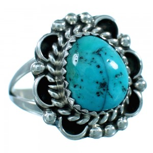 Turquoise American Indian Authentic Sterling Silver Ring Size 8 SX110686