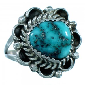 Navajo Genuine Sterling Silver Turquoise Jewelry Ring Size 8 SX110690