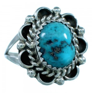 Genuine Sterling Silver And Turquoise Navajo Ring Size 7 SX110668