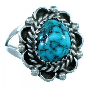 Turquoise Navajo Indian Sterling Silver Ring Size 7-3/4 SX110676