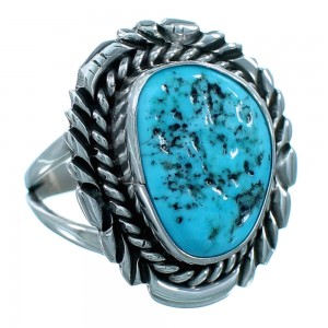 Navajo Indian Sterling Silver Turquoise Ring Size 7-1/2 RX110554