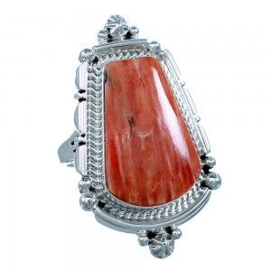 Sterling Silver Navajo Red Oyster Shell Ring Size 10 RX110905