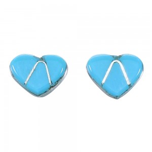Turquoise Authentic Sterling Silver Zuni Indian Heart Post Stud Earrings RX110680