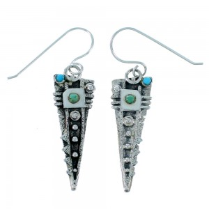 Southwest Turquoise Sterling Silver Hook Dangle Earrings RX110732