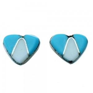 Turquoise Mother Of Pearl Sterling Silver Zuni Heart Post Stud Earrings RX110943