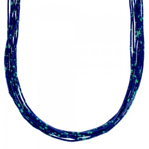 American Indian Sterling Silver 10-Strand Azurite Bead Necklace RX111015