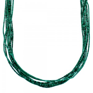 Navajo Sterling Silver 10-Strand Malachite Bead Necklace RX111016