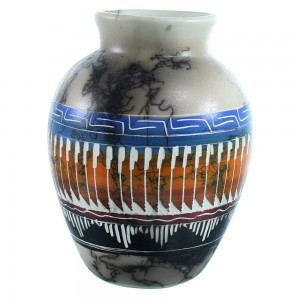 Navajo Indian Hand Crafted Horse Hair Pot By Larry Livingston SX111153
