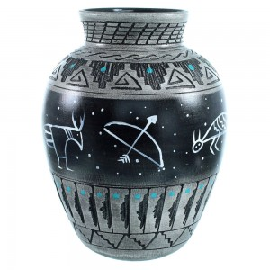Native American Symbol Pot Navajo Hand Crafted By Shyla Watchman SX111169