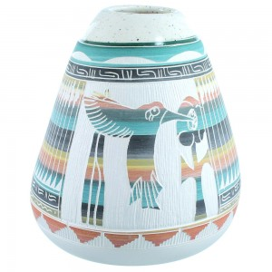 Navajo Hand Crafted Flower And Hummingbird Pot By Tamraia Arviso SX111174