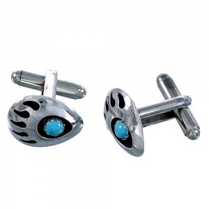 Sterling Silver Navajo Turquoise Bear Paw Cuff Links SX111212