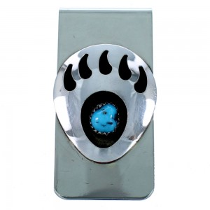 Turquoise Bear Paw Navajo Sterling Silver Money Clip SX111263