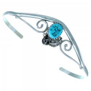 Turquoise Sterling Silver Navajo Flower And Leaf Cuff Bracelet SX111354