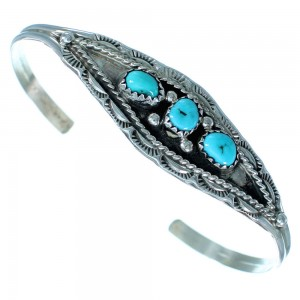 Genuine Sterling Silver Turquoise Navajo Cuff Bracelet RX111537