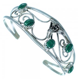 Genuine Sterling Silver Flower And Leaf Malachite Navajo Cuff Bracelet RX111330