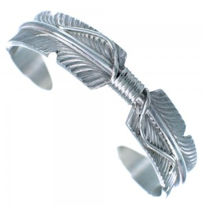 Navajo Feather Sterling Silver Cuff Bracelet RX111343