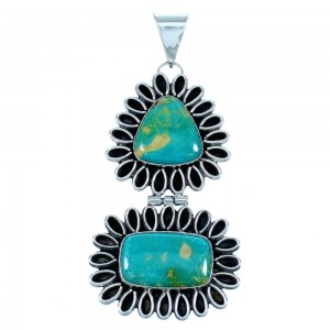 Turquoise Native American Authentic Sterling Silver Pendant SX111456