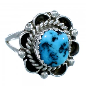 Navajo Turquoise Authentic Sterling Silver Ring Size 6 SX111659
