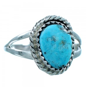 Authentic Sterling Silver Navajo Indian Turquoise Ring Size 7-3/4 SX111611