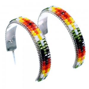 Multicolor Bead Genuine Sterling Silver Navajo Post Hoop Earrings RX111740