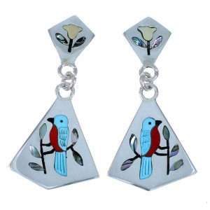 Zuni Multicolor Inlay Blue Bird Sterling Silver Post Dangle Earrings SX111813