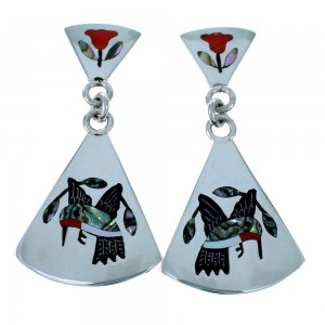 Zuni Sterling Silver Multicolor Hummingbird Post Dangle Earrings SX111815
