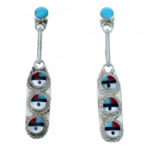Zuni Sterling Silver And Multicolor Sun Post Dnagle Earrings SX111830