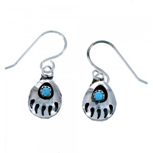 American Indian Authentic Sterling Silver Turquoise Bear Paw Hook Dangle Earrings SX106071