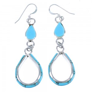 Zuni Sterling Silver And Turquoise Hook Dangle Earrings SX111848
