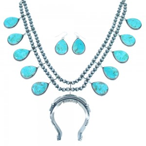 Navajo Turquoise Old Pawn Style Sterling Silver Squash Blossom Necklace Set SX111730