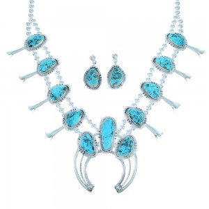 Turquoise Navajo Sterling Silver Squash Blossom Necklace And Earrings Set SX111752