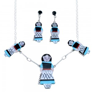 Sterling Silver Multicolor Zuni Storyteller Woman Link Necklace Set RX111638
