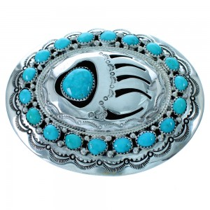 Navajo Turquoise Sterling Silver Bear Paw Belt Buckle RX111640
